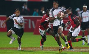 Fiji attacks against Kenya in Pool play at the Dubai Sevens tournament last weekend. Photo: IRB