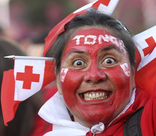 A Tongan fan prepares to support the Ikale Tahi Tongan team during the 2011 Rugby World Cup in New Zealand. Photo: The Guardian