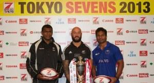 Three skippers who top the series points table. From left; Fiji's Nemani Nagusa, Kiwi DJ Forbes and Samoa's Afa Aiono. Photo: IRB
