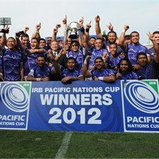 Manu Samoa celebrate after winning the PNC Cup last year in Tokyo. Photo: IRB