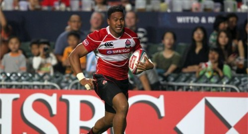 Japan's Sione Faamao Teaupa heads for a try in Hong Kong. Photo: IRB