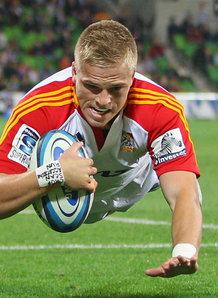 Chiefs hat-trick hero Gareth Anscombe scores a try at AAMI Park in Melbourne. Photo: Planet Rugby