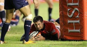 Pale Tauti scores a try for Hong Kong in Manila. Photo: IRB