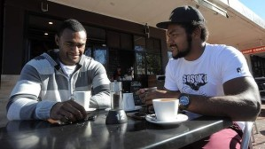 Tevita Kuridrani and Henry Speight enjoy cofee in Kingston. Photo: SMH