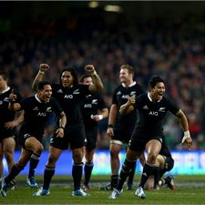 Julian Savea and Aaron Smith lead the celebrations after New Zealand snatch victory against Ireland in the last minute at Dublin. Photo: IRB