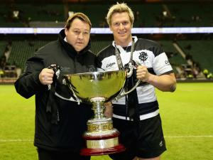Barbarians coach Steve Hansen and skipper Jean de Villiers with the Killik Cup after the presentation. Photo: Planet Rugby