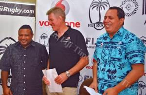 National rugby coach John McKee with Vodafone executive Liga Gukisuva and FRU Acting CEO. Photo: Fiji Times