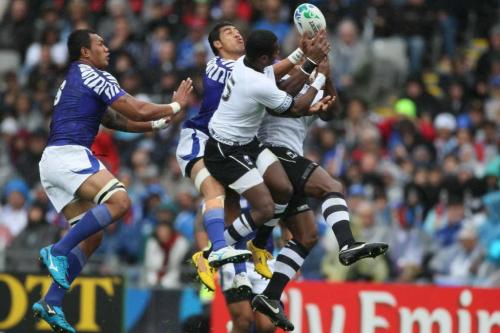 Fiji and Samoa tussle for the ball in an earlier international. Photo: stuff.co.nz