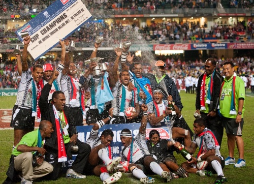 Fiji celebrates a recent win in Hong Kong during the HSBC IRB series. Photo: