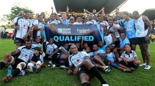 Fiji celebrates 108-6 win over Cook Islands at Churchill Park, Lautoka. Photo: IRB