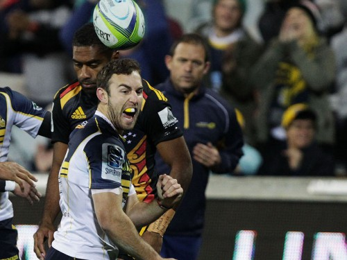 Brumbies scrumhalf Nic White scores against the Chiefs last week. Photo: Skysports