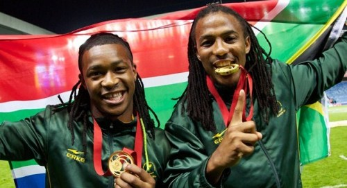 Branco du Preez and Cecil Afrika celebrate Commonwealth Games gold - Photo: IRB/MSL