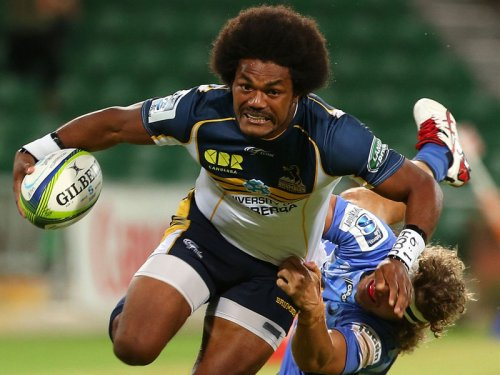 Brumbies winger Henry Speight attacks in Super Rugby. Photo