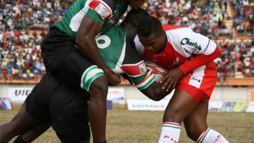 Kenya Simbas contest the ball against hosts Madagascar at  Antananarivo. Photo: IRB