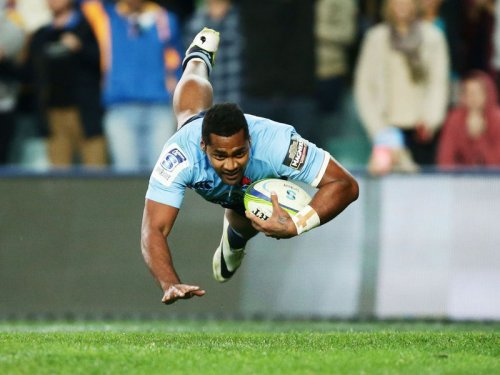 Taqele Naiyaravoro scores the last try for the Waratahs as they defeated the Highlanders 44-16 in Sydney. Photo: Planet Rugby
