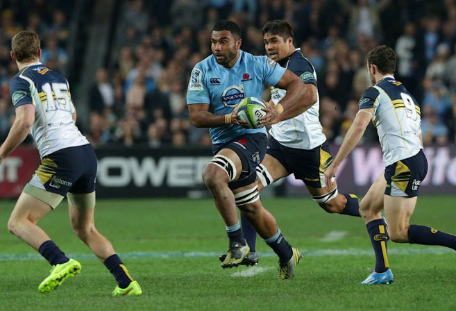 Waratahs backrower Wycliff Palu attacks against the Brumbies last weekend. Photo: Roar