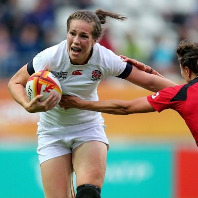 England's Emily Scarratt scored the last try to ensure the victory. Photo: IRB