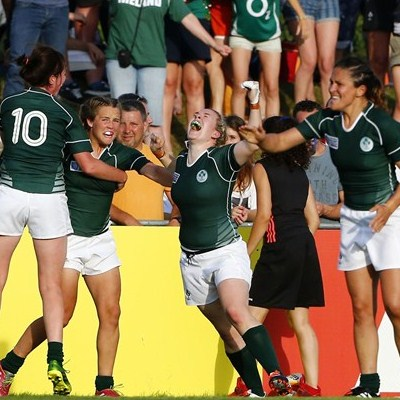 Irish players celebrate after defeating New Zealand. Photo: IRB