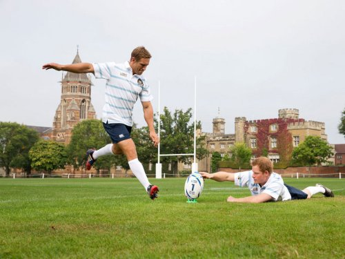 Prince Harry props up a ball for Jonny Wilkinson. Photo: Skysports
