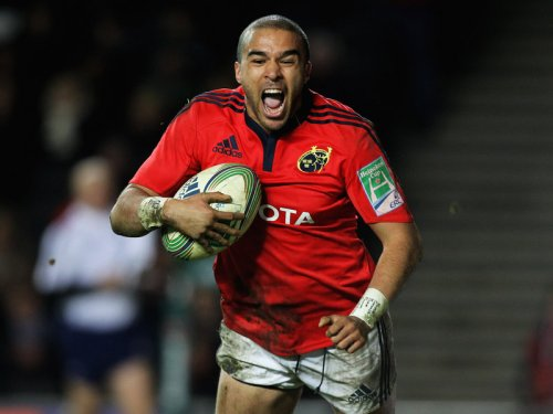 Munsters Simon Zebo goes in for a try against Treviso. Photo: Skysports