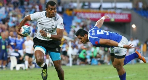 Fiji's Apisai Domolailai goes in for a try against Samoa in the final. Photo: IRB