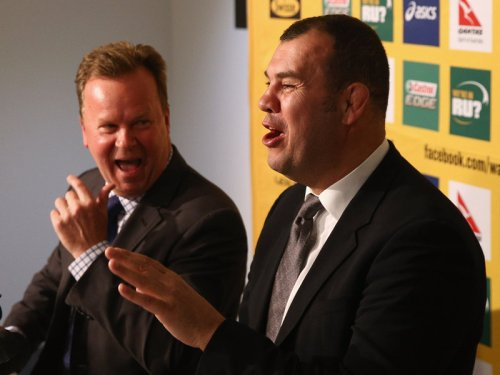 New Aussie coach Michael Cheika (right) and ARFU CEO BIll Pulver. Photo: Planet Rugby