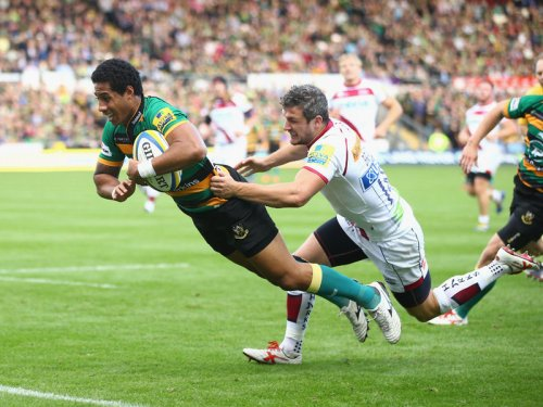 Saints winger Ken Pisi dives over for the first of six tries against Sale. Photo: Skysports