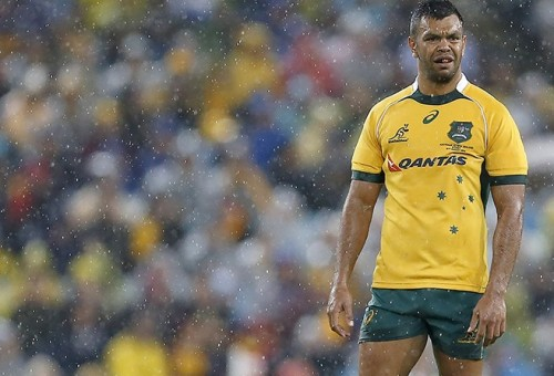 Kurtley Beale prepares for the rainy first Test against the All Blacks on August 16, 2014. Photo: ProLook