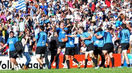Uruguayan Teros celebrate after defeating Russia in Montevideo. Photo: IRB