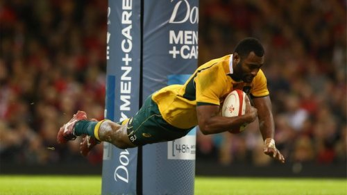 Wallaby centre Tevita Kuridrani dives for his try for their 33-28 win over Wales on Saturday. Photo: BBC