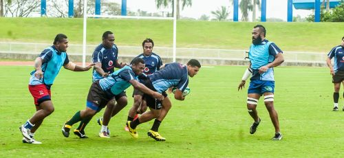 Josh Matavesi (with ball) trains with the Flying Fijians at the ANZ stadium in Suva. Photo: Courtesy of the FRU