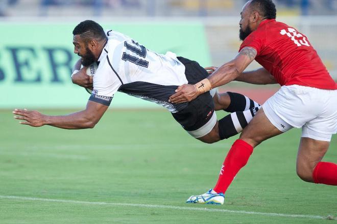 Waisea Nayacalecu scores a try for Fiji against Tonga. Photo: Zoomfiji