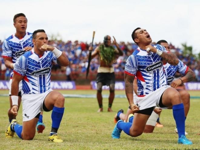Manu Samoa perform the Siva Tau against the All Blacks in Apia. Photo: Planet Rugby