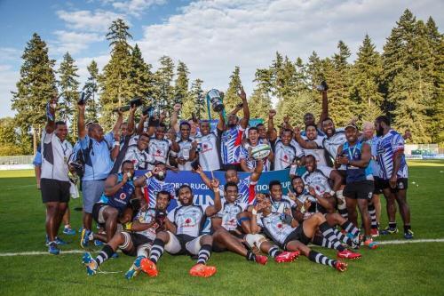 Fiji celebrates 39-29 win against Manu Samoa in PNC final in British Columbia. Photo: World Rugby