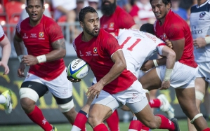 Telusa Veainu of Tonga runs in a try against the US during their World Rugby Pacific Nations Cup match in Toronto, Canada in July. AFP PHOTO/Getty Images