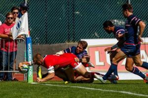 USA scores a try and defeated Canada to clain fifth spot. Photo: World Rugby