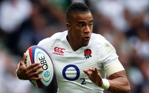 Anthony Watson plays against Ireland in the warm up Test last week. Photo: Kieran Galvin/REX Shutterstock