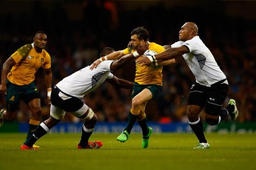 Australia's Adam Ashley-Cooper attacks against Fiji yesterday. Photo: World Rugby
