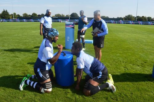 Frans Ludeke supervises training for the locks in England. Photo: Fiji Rugby
