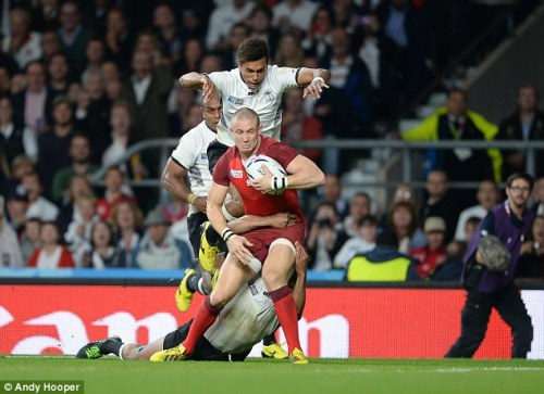 England fullback Mike Brown going over for a try against Fiji. Photo: Andy Hooper