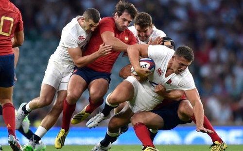 England's Sam Burgess in action against France. Photo: Reuters