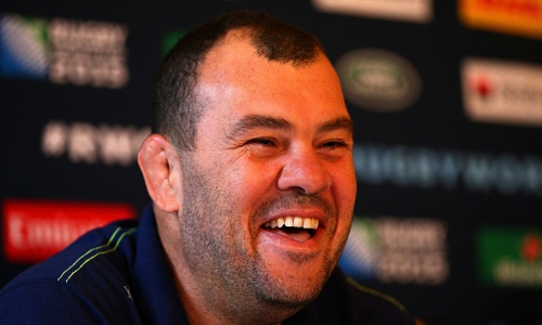 Michael Cheika, Australia's coach, fields the questions at the MacDonald Bath Spa hotel on Tuesday. Photograph: Dan Mullan/Getty Images