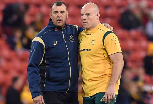 Wallabies coach Michael Cheika and Moore. Photo: Roar