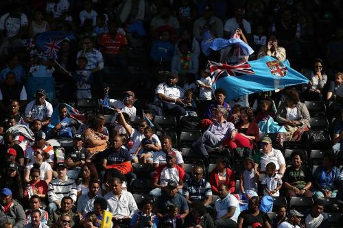 HOPES OF A NATION: Fiji fans party at The Stoop during their warm-up match for RWC 2015 against Canada. Photo: World Rugby