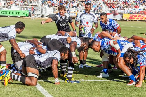 Fiji's scrum lines up against Samoa at Bonney Field in Sacramento. Photo: World Rugby