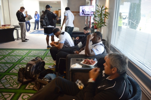 The Fijian team lounge around after arriving in London yesterday. Photo: Fiji One TV