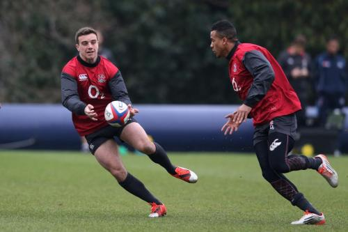 YOUNG GUNS: Fly-half Five eighth George Ford and winger Anthony Watson go through their paces in training. Photo: World Rugby