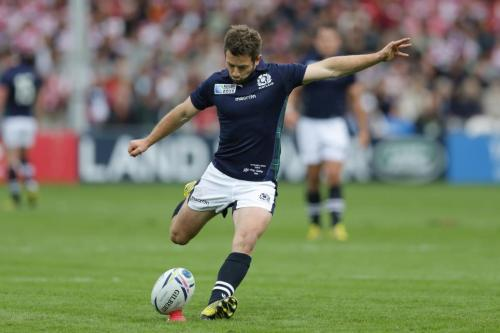 Greig Laidlaw kicks one of his penalties against Japan. Photo: World Rugby