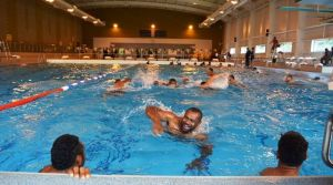 Centre Vereniki Goneva doing pool training at the Aldershot Army Base training camp. Photo: Fiji Rugby