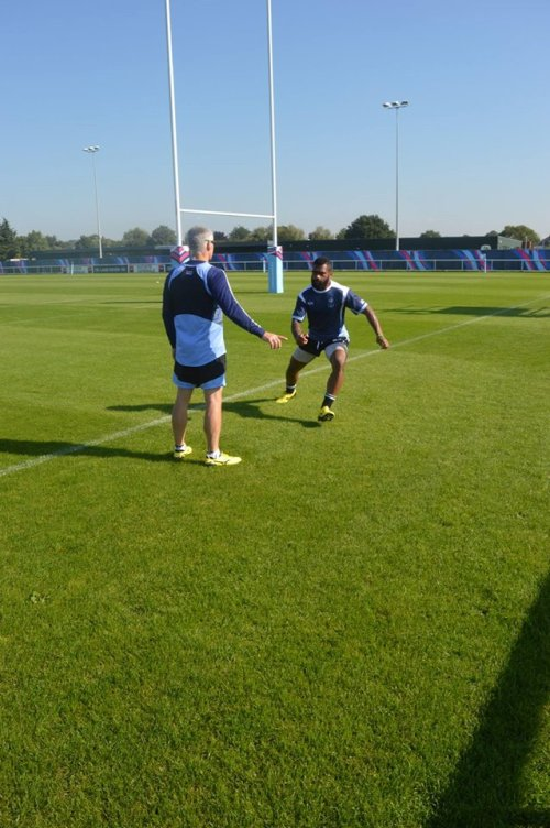 Halfback Nikola Matawalu doing training in London last week. Photo: Fiji Rugby